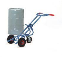 Hordószállító kocsi 206L támasztó kerékkel, 200 l hordóhoz, 300 kg, levegős abroncsokkal