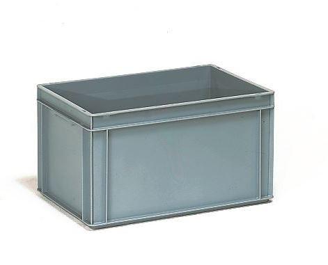 Műanyag doboz, EURO, szürke, 600 x 400 x 325 mm, 60l