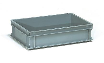 Műanyag doboz, EURO, szürke, 600 x 400 x 145 mm, 26l