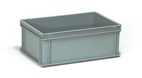 Műanyag doboz, EURO, szürke, 600 x 400 x 220 mm, 40l