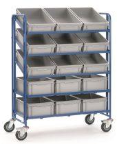 EURO dobozos kocsi 1398, dobozokkal, rakfelület 1.240 x 610 mm, 300 kg