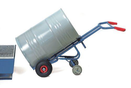 Hordószállító kocsi 306V 2 db támasztókerékkel, 200 l hordóhoz, 300 kg, tömörgumi kerekekkel